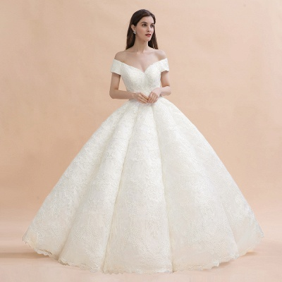 Elegant Ivory Off-the-Shoulder Lace Appliques Ball Gowns_3