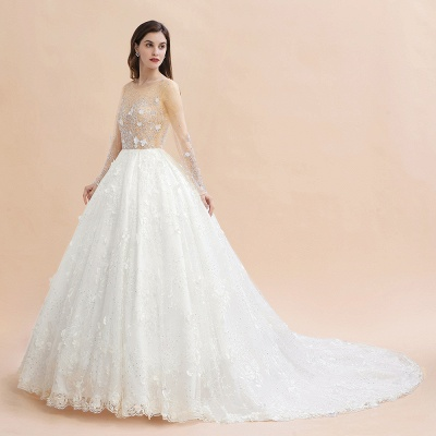A-line Gliter Bridal Gown Long Sleeve Long Sleeve Wedding Gown_10