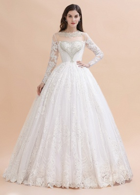 Glamous Ivory Long Sleeve Lace Appliques A-line Wedding Dress