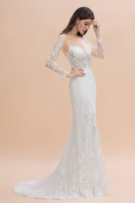 Elegant White/Ivory Tulle Lace Appliques Mermaid Bridal Gowns Long Seelve Wedding Dress_3