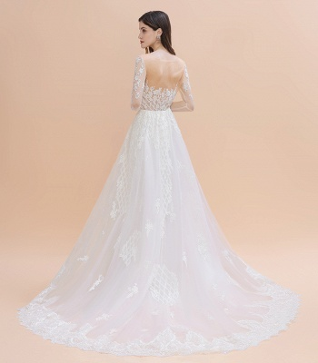 Elegant White/Ivory Tulle Lace Appliques Mermaid Bridal Gowns Long Seelve Wedding Dress_9