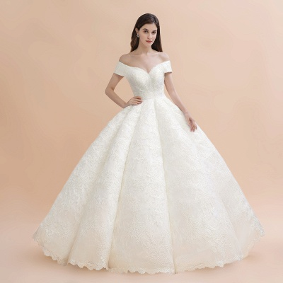Elegant Ivory Off-the-Shoulder Lace Appliques Ball Gowns_2
