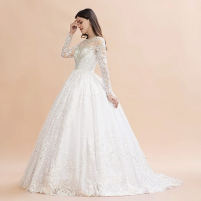 Glamous Ivory Long Sleeve Lace Appliques A-line Wedding Dress_5
