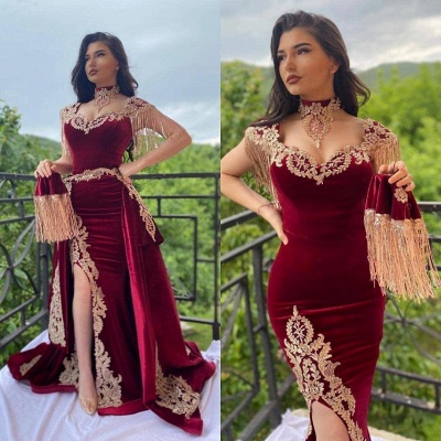 Burgundy Velvet Evening Gown Gold Appliques Floor Length Dress_2