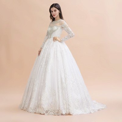 Glamous Ivory Long Sleeve Lace Appliques A-line Wedding Dress_4