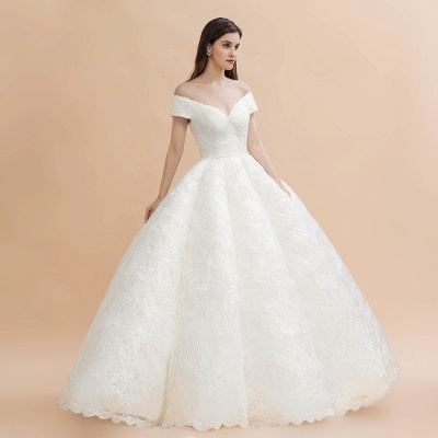 Elegant Ivory Off-the-Shoulder Lace Appliques Ball Gowns_4