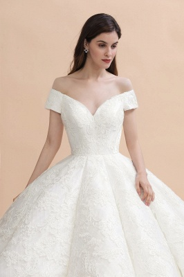 Ivory Off Shoulder Tulle Lace Appliques Ball Gown Bridal Dress_8