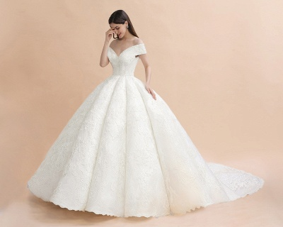 Ivory Off Shoulder Tulle Lace Appliques Ball Gown Bridal Dress_4