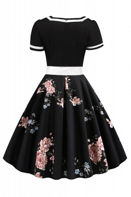 Vintage Knee Length Dress Floral Short Sleeve Cocktail Party Dress Daily Wear_4
