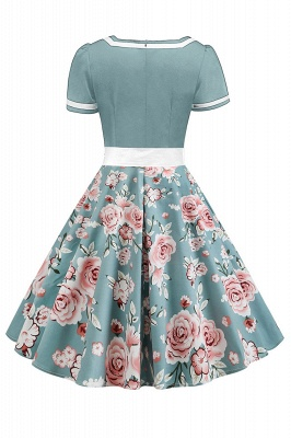 Vintage Knee Length Dress Floral Short Sleeve Cocktail Party Dress Daily Wear_6