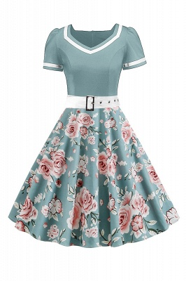 Vintage Knee Length Dress Floral Short Sleeve Cocktail Party Dress Daily Wear_3