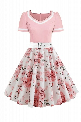 Vintage Knee Length Dress Floral Short Sleeve Cocktail Party Dress Daily Wear_2