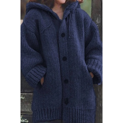 Women's Long Sleeve Chunky Knit Sweater Open Front Cardigan Outwear with Pockets_2