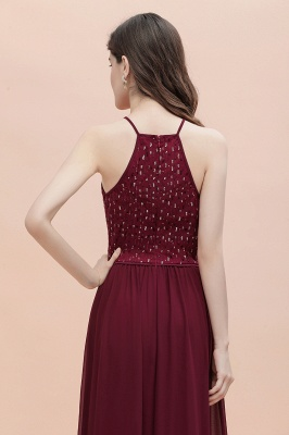Spaghetti Straps Elegant A-Line Evening Dress Sequins Maxi Prom Dress Cross Straps_9