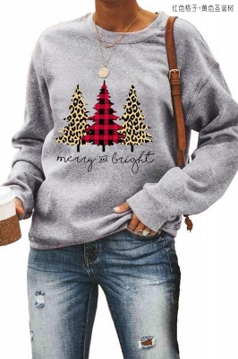 Leopard Printed Plaid Trees Christmas Sweatshirt Long Sleeve Lightweight Pullover Tops Blouse Women_13