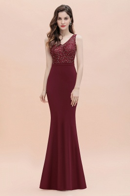 Burgundy V-Neck Mermaid Evening Dress Slim Sequins Party Dress
