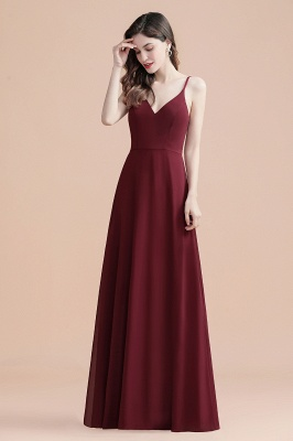 Spaghetti  Straps Chiffon Evening maxi Dress Sequins V-neck Bridesmaid dress