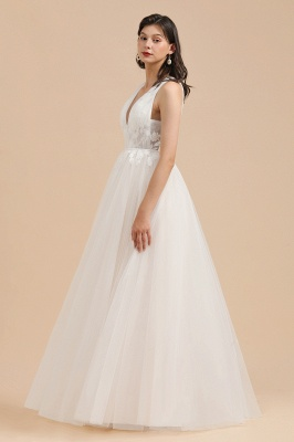 White Tulle Lace Appliques Wedding Dress V-Neck Floor Length Gowns_5