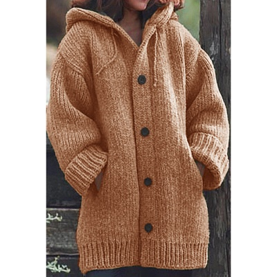 Women's Long Sleeve Chunky Knit Sweater Open Front Cardigan Outwear with Pockets_7