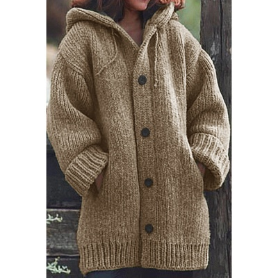 Women's Long Sleeve Chunky Knit Sweater Open Front Cardigan Outwear with Pockets_4