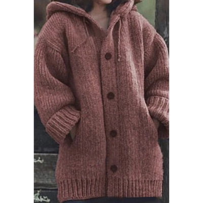 Women's Long Sleeve Chunky Knit Sweater Open Front Cardigan Outwear with Pockets_6