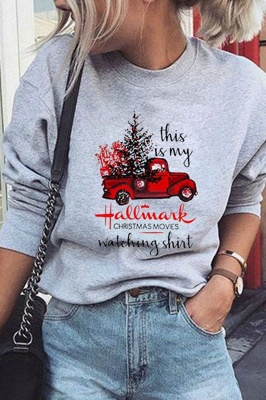 Leopard Printed Plaid Trees Christmas Sweatshirt Long Sleeve Lightweight Pullover Tops Blouse Women_34
