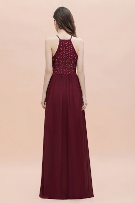 Spaghetti Straps Elegant A-Line Evening Dress Sequins Maxi Prom Dress Cross Straps_6