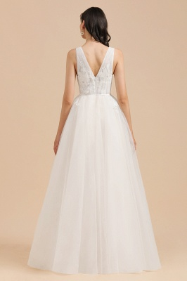 White Tulle Lace Appliques Wedding Dress V-Neck Floor Length Gowns_2