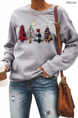 Leopard Printed Plaid Trees Christmas Sweatshirt Long Sleeve Lightweight Pullover Tops Blouse Women_2