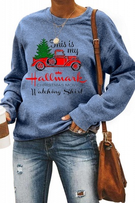 Leopard Printed Plaid Trees Christmas Sweatshirt Long Sleeve Lightweight Pullover Tops Blouse Women_31
