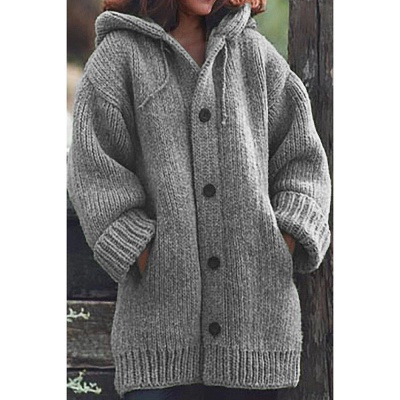 Women's Long Sleeve Chunky Knit Sweater Open Front Cardigan Outwear with Pockets_9
