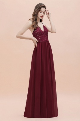 V-Neck Burgundy A-line Evening Maxi Dress Prom Party Dress