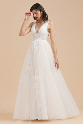 White Tulle Lace Appliques Wedding Dress V-Neck Floor Length Gowns_1