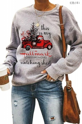 Leopard Printed Plaid Trees Christmas Sweatshirt Long Sleeve Lightweight Pullover Tops Blouse Women_4