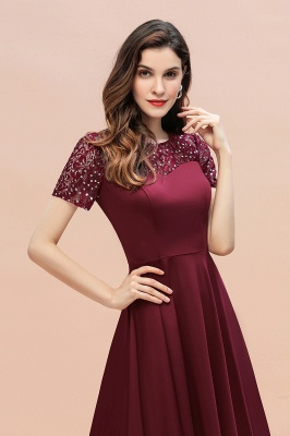 Elegant Chiffon A-line Mini Evening Dress Daily Wear short Sleeve_13