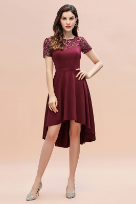 Elegant Chiffon A-line Mini Evening Dress Daily Wear short Sleeve