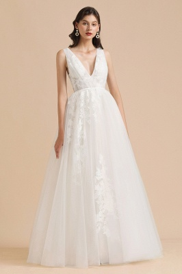 White Tulle Lace Appliques Wedding Dress V-Neck Floor Length Gowns_6