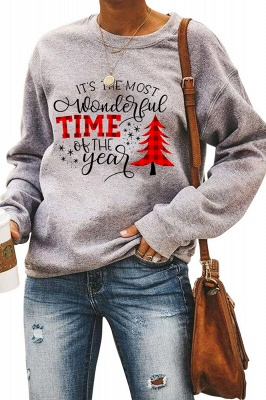 Leopard Printed Plaid Trees Christmas Sweatshirt Long Sleeve Lightweight Pullover Tops Blouse Women_33