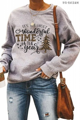 Leopard Printed Plaid Trees Christmas Sweatshirt Long Sleeve Lightweight Pullover Tops Blouse Women_9