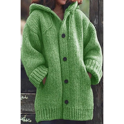 Women's Long Sleeve Chunky Knit Sweater Open Front Cardigan Outwear with Pockets_8