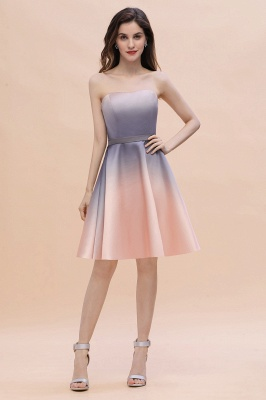 Gradient Strapless Mini Dress A-line Sleeveless Evening Dress Daily Wear