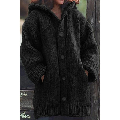 Women's Long Sleeve Chunky Knit Sweater Open Front Cardigan Outwear with Pockets_3