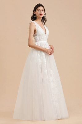 White Tulle Lace Appliques Wedding Dress V-Neck Floor Length Gowns_4