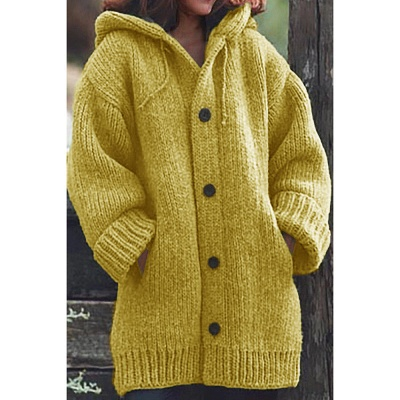 Women's Long Sleeve Chunky Knit Sweater Open Front Cardigan Outwear with Pockets_5