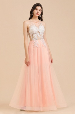 Stylish Sleeveless Evening Maxi Dress A-line Lace Appliques Prom Dress_7