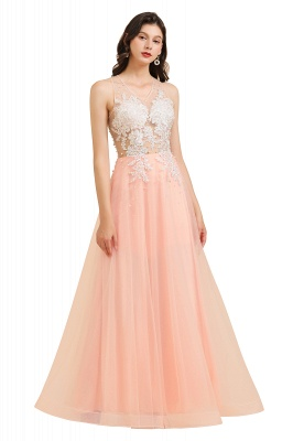 Stylish Sleeveless Evening Maxi Dress A-line Lace Appliques Prom Dress_1
