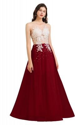 Stylish Sleeveless Evening Maxi Dress A-line Lace Appliques Prom Dress_3