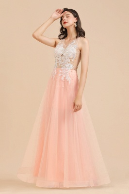 Stylish Sleeveless Evening Maxi Dress A-line Lace Appliques Prom Dress_10