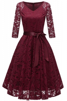 Long Sleeve Lace Dress Christmas Dress Knee Length