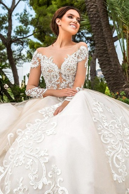 Luxury Lace Wedding dress Shiny Cathedral train Long Sleeve wedding gown
